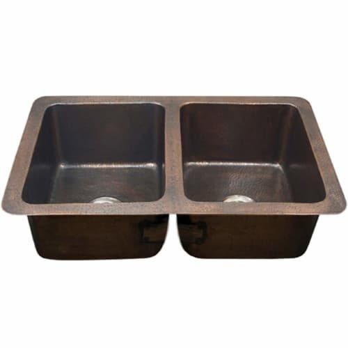 Houzer HW-CHA2 Hammerwerks 34-1/4' Double Basin Undermount Hammered Copper Kitchen Sink and 50/50 Split