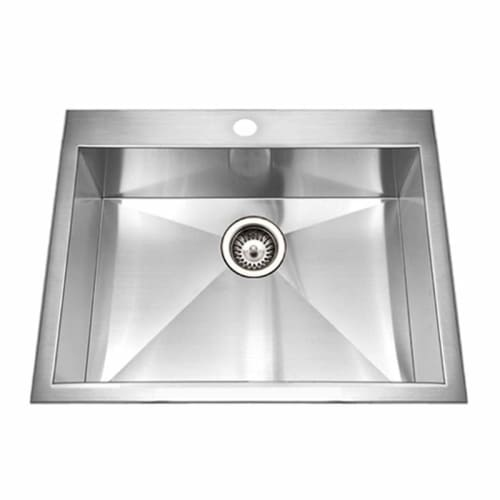 Houzer BCS-2522 Bellus 25' Single Basin Drop In 18-Gauge Stainless Steel Kitchen Sink with Sound Dampening Technology - Basket