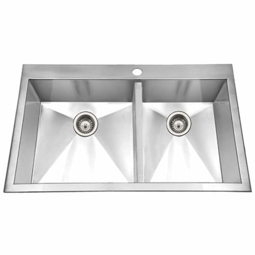 Houzer BCD-3322 Bellus 33' Double Basin Drop In 18-Gauge Stainless Steel Kitchen Sink with 60/40 Split - Basket Strainer and