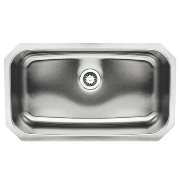 Whitehaus Collection Noah's Rectangular Single Bowl Undermount Sink - Undermount - Single Basin - Bottom Center