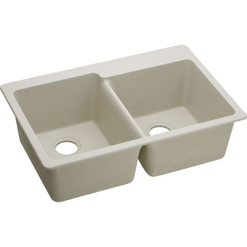 Elkay ELG250R Gourmet 33' Double Basin Granite Composite Kitchen Sink for Drop In Installations with 60/40 Split and 4