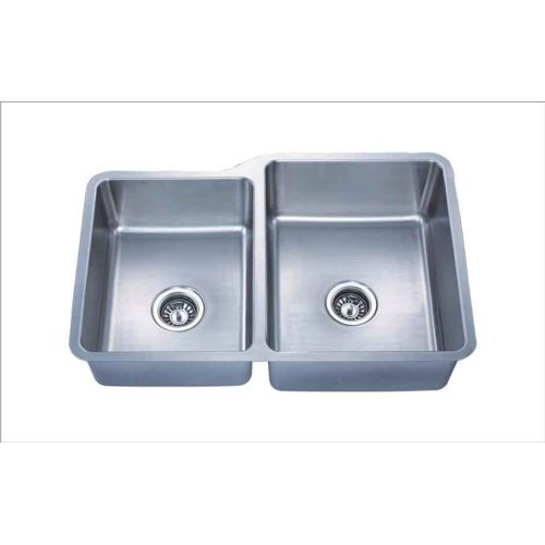 Giagni GSAZ264L Almost Zero Kitchen Sink 32' Undermount Stainless Steel Double Bowl with Large Left Basin