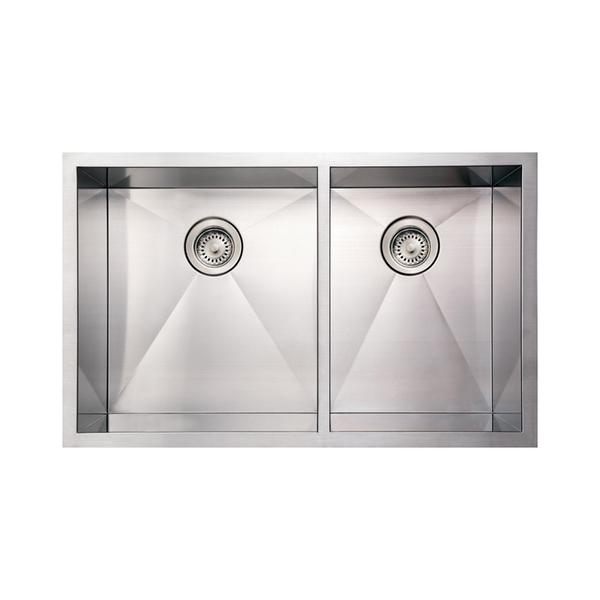 Whitehaus Collection Noah's Under mount Sink - Double Basin - Stainless Steel - Bottom Center