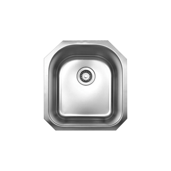 Whitehaus Collection Noah's Under mount Sink - Single Basin - Stainless Steel - Bottom Center