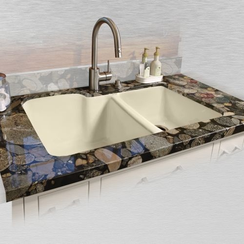 Miseno MCI35-0UM 33' Double Basin Undermount Cast Iron Kitchen Sink