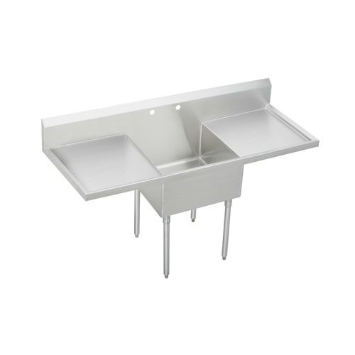 Elkay WNSF8124LR1 Weldbilt Stainless Steel 49-1/2' Floor Mount Single Bowl Food Service Scullery Sink with Left and Right Drain