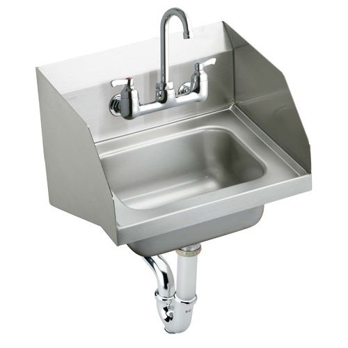 Elkay CHS1716LRSSACMC Wall Mount 18 Gauge Stainless Steel Handwash Sink with Side Splashes, Sensor Faucet, and Mixing Valve