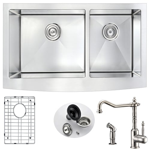 Anzzi K36203A-108 Elysian 35-7/8' Double Basin 16 Gauge Stainless Steel Farmhous