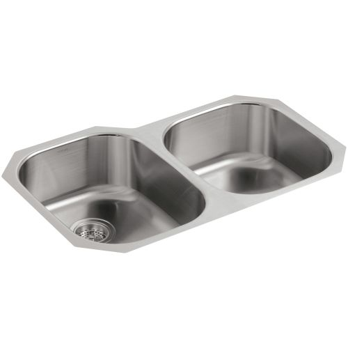 Kohler K-3354 Undertone 31' Double Basin Under-Mount 18-Gauge Stainless Steel Kitchen Sink with SilentShield