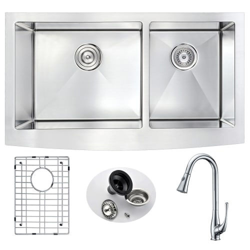 Anzzi KAZ3320-041 Elysian 32-7/8' Double Basin 16 Gauge Stainless Steel Farmhous