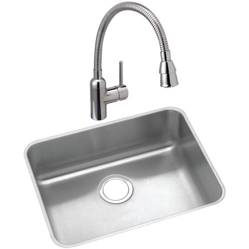 Elkay ELUH191610C Lustertone 21-1/2' Undermount Laundry Sink with 1.5 GPM Single Hole Faucet with Flexible Spout