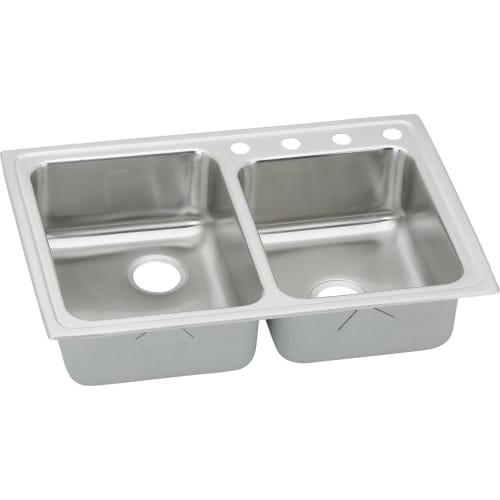 Elkay LRADQ25050 Gourmet 33' Double Basin Drop In Stainless Steel Kitchen Sink