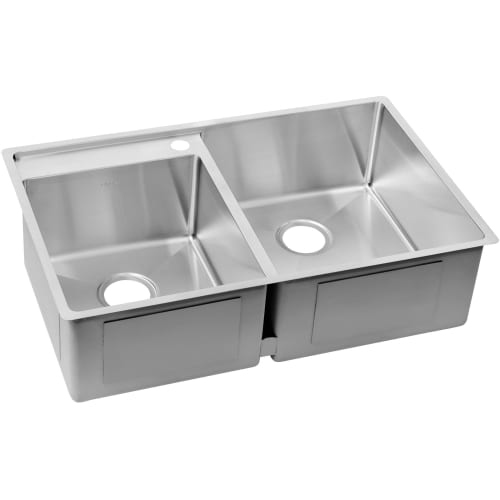 Elkay ECTRUD31199L Crosstown 32-1/2' Double Basin Stainless Steel Kitchen Sink for Undermount Installations with Water Deck