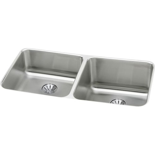 Elkay ELUH311810LPD Gourmet 30-3/4' Double Basin Undermount Stainless Steel Kitchen Sink - Includes Two Perfect Drain Assemblies