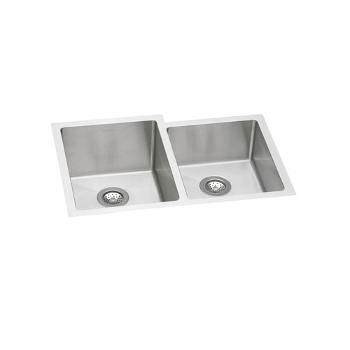 Elkay EFRU312010RDBG Crosstown Stainless Steel 31-1/4' Double Basin Kitchen Sink with 10' Depth, Rounded Basin Corners, Bottom