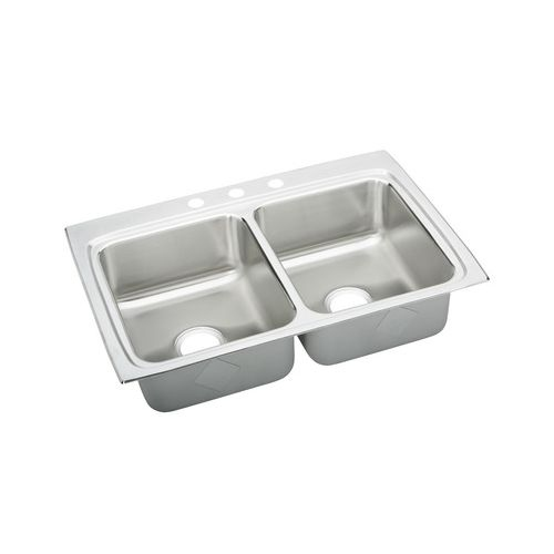 Elkay LRADQ332250MR2 Gourmet Kitchen Sink 33' x 22' Drop In Double Basin Stainless Steel with 5' Basins