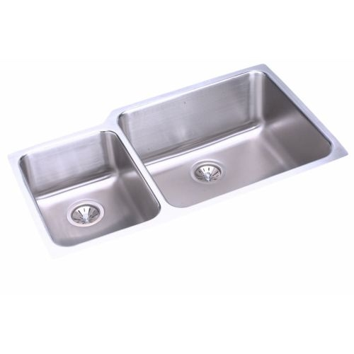 Elkay ELUH3520L Gourmet 35-1/4' Double Basin 18-Gauge Stainless Steel Kitchen Sink for Undermount Installations with 35/65 Split