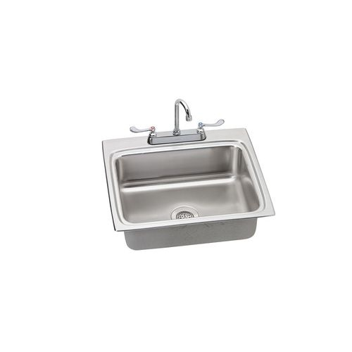 Elkay LR2522SC Lustertone 25' x 22'Utility Sink Topmount Stainless Steel Kitchen Single Bowl Sink and Utility Faucet Kit