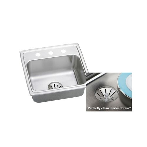 Elkay LR2219PD Gourmet 22' Single Basin 18-Gauge Stainless Steel Kitchen Sink for Drop In Installations with SoundGuard