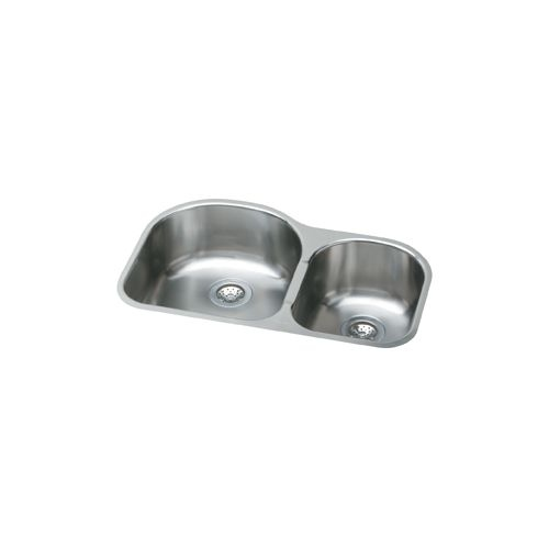 Elkay EGUH3119R Harmony Elumina Stainless Steel 31-1/4' Double Basin Undermount Kitchen Sink with Right Primary Bowl and 8'