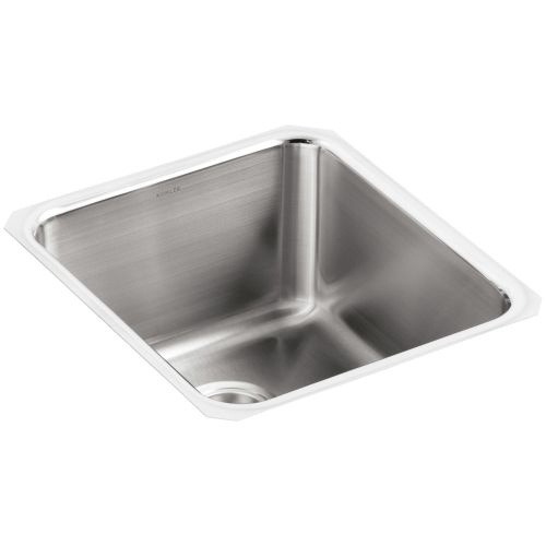 Kohler K-3330 Undertone 16' Single Basin Under-Mount 18-Gauge Stainless Steel Kitchen Sink with SilentShield