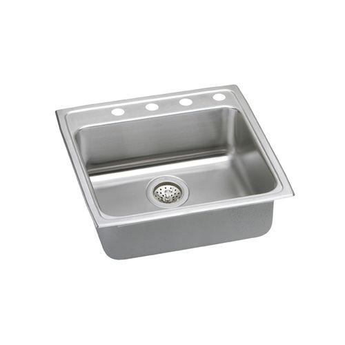 Elkay LRADQ222240 Gourmet Kitchen Sink 22' x 22' Drop In Single Basin Stainless Steel with 4' Basins - 3 faucet holes - Single hole