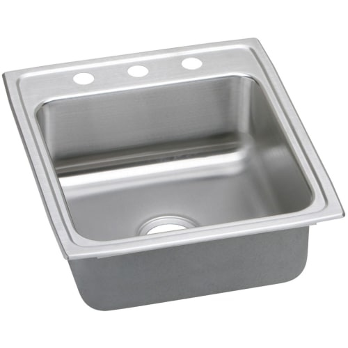Elkay LRQ2022 Gourmet 19-1/2' Single Basin Drop In Stainless Steel Kitchen Sink - no faucet holes - Four holes