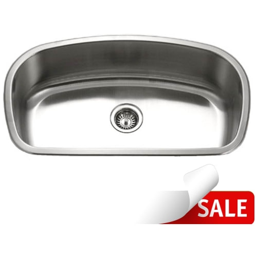 Houzer MB-3300 Medallion 32-1/2' Single Basin Undermount 18-Gauge Stainless Steel Kitchen Sink with Sound Dampening Technology -