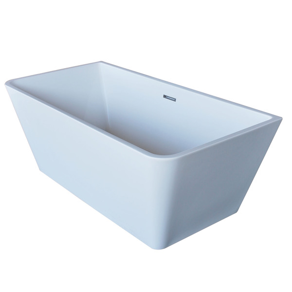 Anzzi Majanel 5.6-foot Acrylic Center Drain Freestanding Bathtub in Glossy White - Glossy