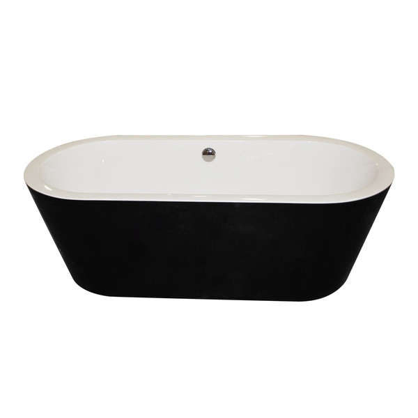 ANZZI Dualita 5.6-foot Glossy Black Acrylic Center Drain Freestanding Bathtub - Glossy