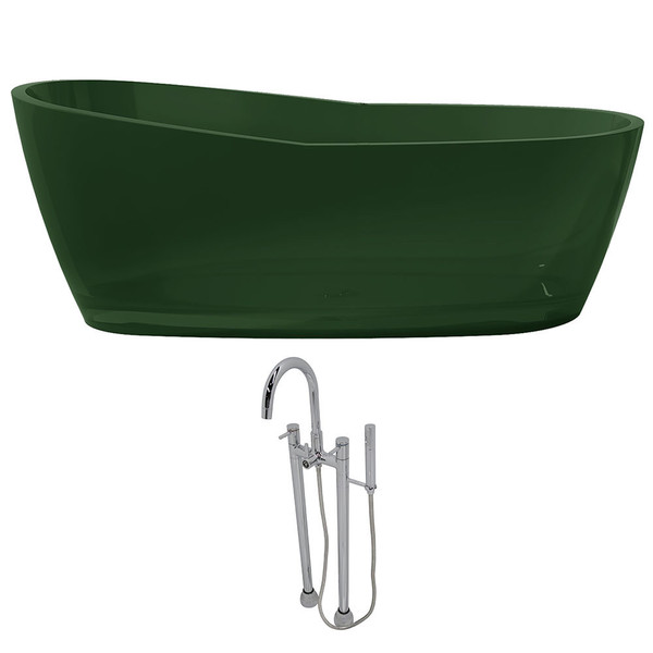 Anzzi Ember 5.4-foot Man-made Stone Slipper Soaker Bathtub in Emerald Green with Sol Faucet in Chrome - Translucent