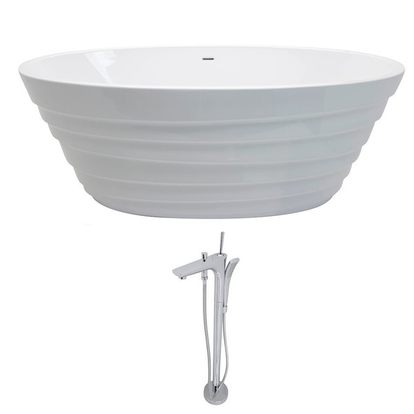 Anzzi Nimbus 5.6-foot Acrylic Classic Soaking Bathtub in White with Kase Freestanding Faucet in Chrome - Glossy