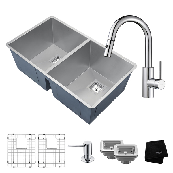 KRAUS 31 Inch Pax Undermount 50/50 Double Bowl Stainless Steel Kitchen Sink with Oletto Pull Down Faucet and Soap Dispenser